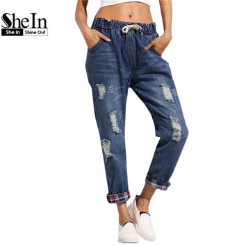 SheIn Summer Trousers For Women Casual Blue Drawstring Waist Distressed Boyfriend Loose Jeans With Plaid Lining Detail