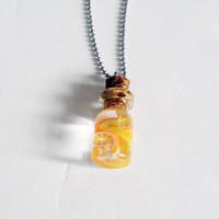 LEMONS AND ORANGES - glass bottle jewelry