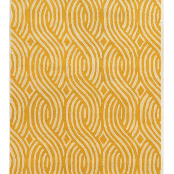 Cable Pattern Yellow Area Rug on Sale