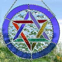 Stained Glass Jewish Star of David Sun Catcher - Blue Multi-Color 8""