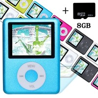 Elecmall Economic Blue Mp3 MP4 Player - 8G Micro SD Card included - Music Player Video Player with Voice Record Function