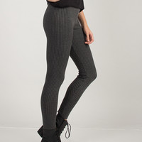 Ribbed Textured Leggings - Charcoal