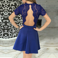 Top Summer Dress 2017 Women Sexy Lace Crochet Hollow Out Backless Mini Party Dresses V Neck Short Sl