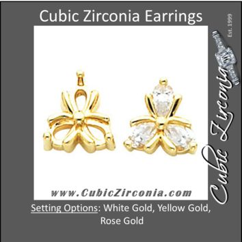 Cubic Zirconia Earrings- 1.20 Carat 3-Stone Floral Inspired Pear Stud Earring Set