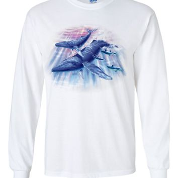 Humpback Whales and Dolphins By Royce Long Sleeve Shirt