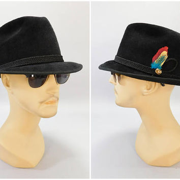 1950's Vintage Fedora / Trilby Hat / Beaver Hats Fedora / Black Velour Fedora / Artel Hats / Size 7-3/8 / Space Age Rocket Pin / Mad Men Hat