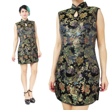 90s Asian Mini Dress Chinese Cheongsam Dress Mandarin Collar Dress Black Gold Brocade Dress Floral Sleeveless Sexy Party Evening Dress (M)