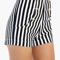 High Waist Front Button Shorts - Black White Stripe