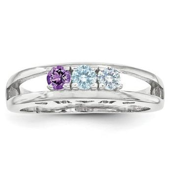 SS 3mm Synthetic Family Jewelry Ring - 3 Stones