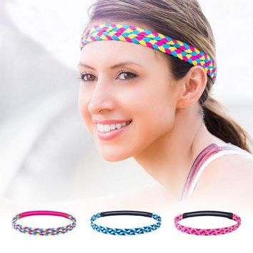 Women Hair Band Sport Fitness Yoga Headband Running Bicycling Absorb Sweat Anti-slip Girls Weave Hair Hoop B2Csh