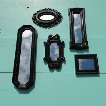 Small Ornate Mirror Collection Vintage Gothic Mirror Wall Mirrors Black Frame Hollywood Regency Paris Apartment  French Country Romantic
