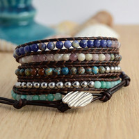 Silver, turquoise, blue and pink wrap bracelet. Long beaded bracelet. Women's jewelry