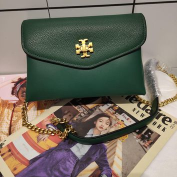 Kuyou Gb99822 Tory Burch Chain Flap Cover Bag Crossbody Bag In Green Grained Leather 20*13.5*7.5cm
