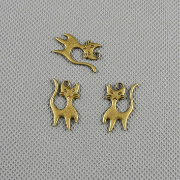 4x Making Jewellery Supply Retro Vintage Bronze Jewelry Findings Charms Schmuckteile Charme 4-A5267 Kitten Cat