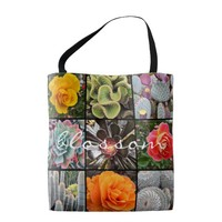"""""""Blossom"""" quote cacti & roses grid photo tote bag"""