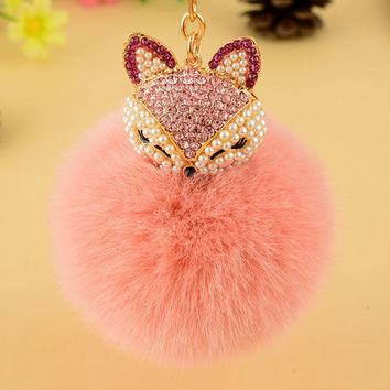 Rhinestone Fox Keychain With Pom Pom