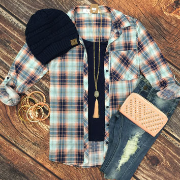 Penny Plaid Flannel Top: Blue/Peach