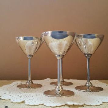 Vintage Silver Plate Martini Glasses EPNS Silverplate Set of Four Engraved W