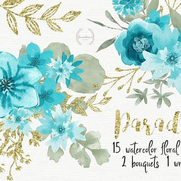 Shop Watercolor Flowers Clipart On Wanelo
