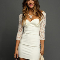 White Lace Sleeve Backless Dress - Sheinside.com
