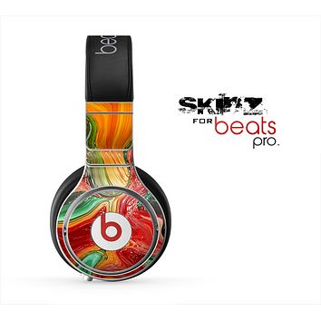 The Mixed Orange & Green Paint Skin for the Beats by Dre Pro Headphones