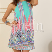 Blue Sleeveless Vintage Print Dress -SheIn(Sheinside)