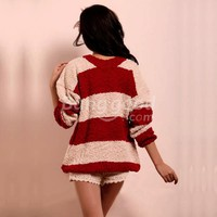 2011 New Ladies Red&White Pullover Fleece Sweater Loose Tops Sweater HOT Free Shipping!  - US$29.99