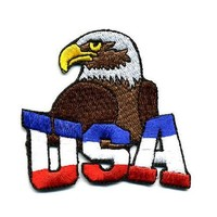 """Embroidered Iron On Patch - USA American Eagle Patriotic 2.5"""" Patch"""