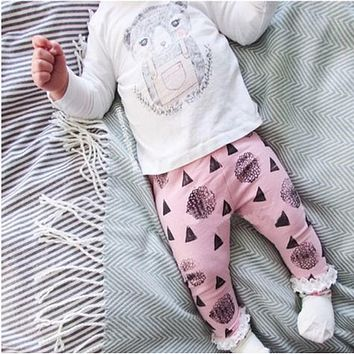 Fashion Girl's Clothing set cotton long-sleeved T-shirt + cartoon pants newborn baby Set of clothes girl suit