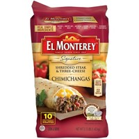 El Monterey® Signature Shredded Steak & Three-Cheese Chimichangas 10 ct Bag - Walmart.com