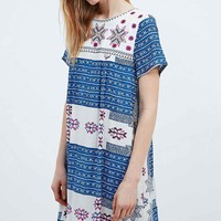 Little White Lies Veronique Embroidered Front Dress in Blue and White - Urban Outfitters