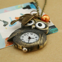 Vintage pocket watch- Lovely owl necklace with leaves and glass pearl charms-Necklace antique brass