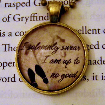 I Solemnly Swear I Am Up to No Good Necklace. 18 Inch Chain. Harry Potter Marauder's Map Inspired Necklace.