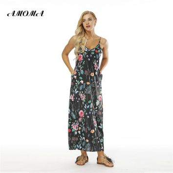 AMOMA Women Summer Beach Dress Spaghetti Strap Sleeveless V-neck Maxi Long Dress With Pockets Six Patterns