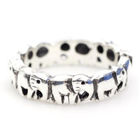 925 sterling silver Elephant Family in Row Band Ring