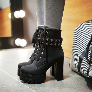Platform Round Toe Lace Up Rivets High Chunky Heels Short Boots