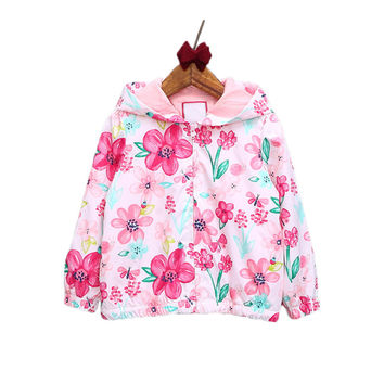 New Baby Girls Jacket Casual Hooded Outerwear Girls Coat Floral Winter Kids Clothing Children Jackets For Girls Fashion Cardigan