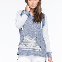 Socialite Ethnic Contrast Womens Hoodie Blue  In Sizes