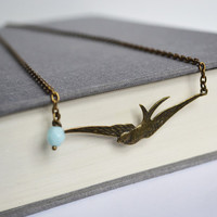 Swallow Mint Necklace. Free Flying Swallow Sparrow Bird Necklace. Nature Inspired Mint Blue Jewelry. Bird Lovers Jewelry. Canadian Shop