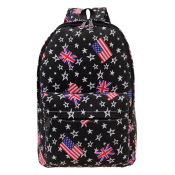 Stars National Flag Printed Canvas Backpack