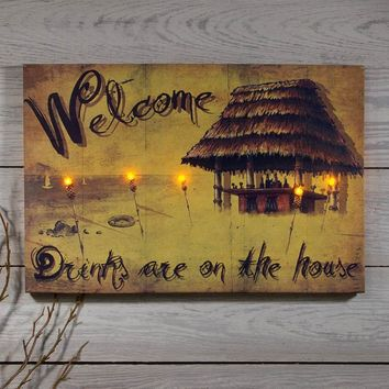 Lighted Indoor Outdoor Tiki Canvas