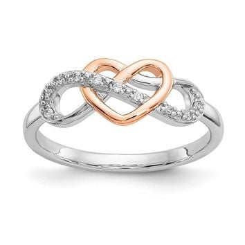 Sterling Silver and 10k Rose Gold Diamond Heart Infinity Ring