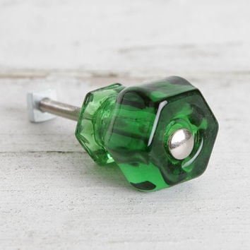Emerald Green Glass Knobs, Cabinet or Drawer Knobs, Dresser Knobs, Antique Style Knobs