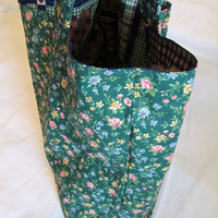 Sale - Tote, Market or Shopping Bag, Large Lined Reusable and Reversible - Country Patchwork in Blues and Greens