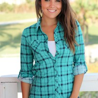 Jade and Navy Plaid Top