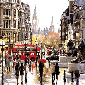 DIY London Oil Painting By Numbers Frameless On Canvas Room Wall Art Home Decor