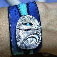 Ocean Waves Artisan Silk Wrap Bracelet