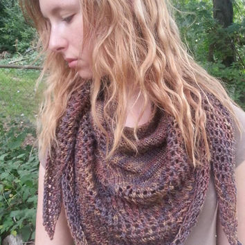 "Shawl scarf wrap for fall hand knit lace eyelet in merino linen silk blend ""Autumn leaves"" COUPON AVAILBLE"