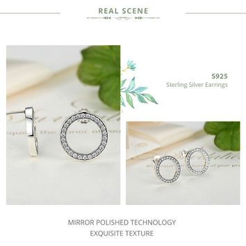 Womens .925 Sterling Silver Luminous Round Earrings - USA Stock