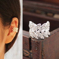 Harvest Leaves Rhinestone Ear Cuff (Single, No Piercing)